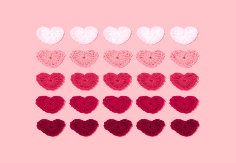 Sweet Pink Knitting Heart Valentine's Day Backdrop for Picture