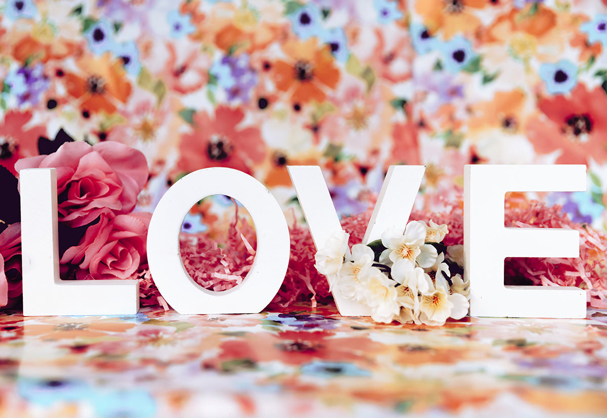 Valentine's Day Floral Love Photography Backdrops