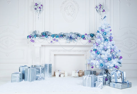 Blue Christmas White Fireplace Photography Backdrops