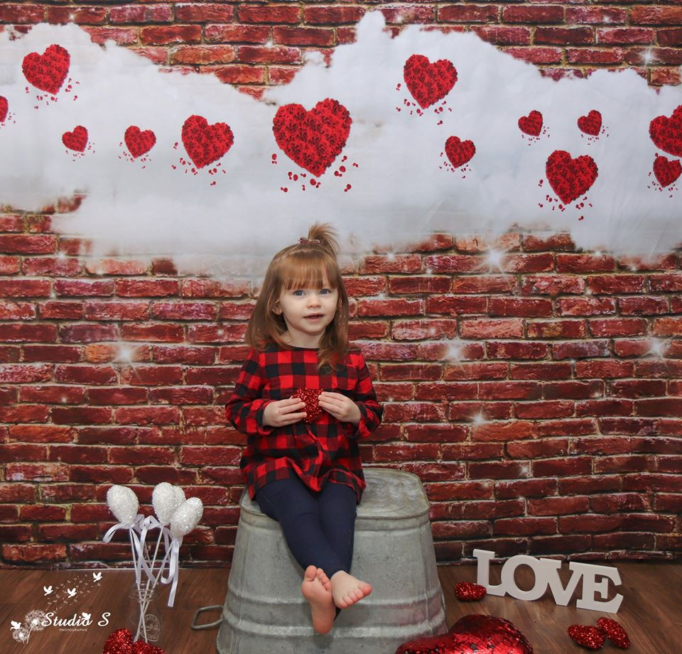 Red Brick Wall White Cloud Glitter Valentine's Day Backdrops