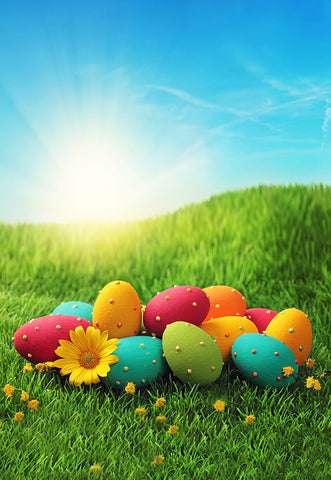 Blue Sky Green Grass Pearl Colorful Eggs Backdrop for Easter