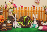 Spring Grass Fence Garden Rabbit Flower Easter Photography Backdrop