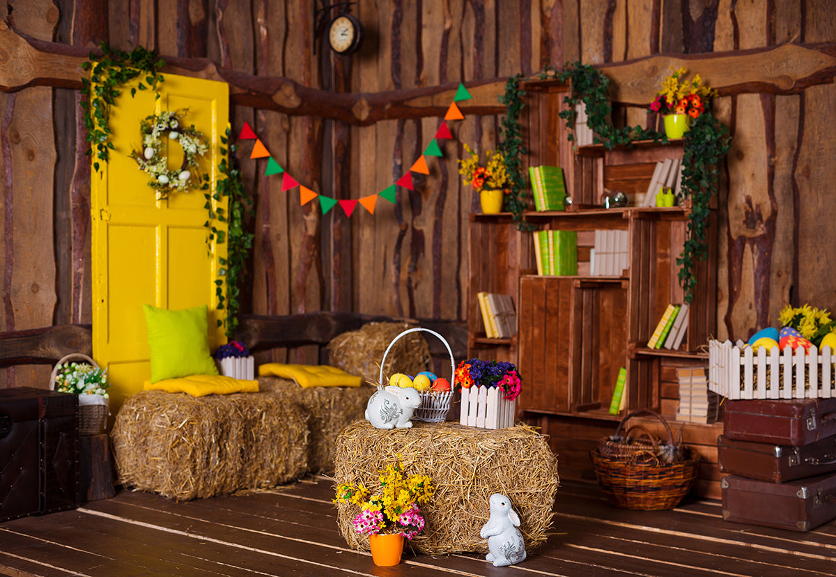 Brown Wooden Room Straw Colorful Easter Backdrops