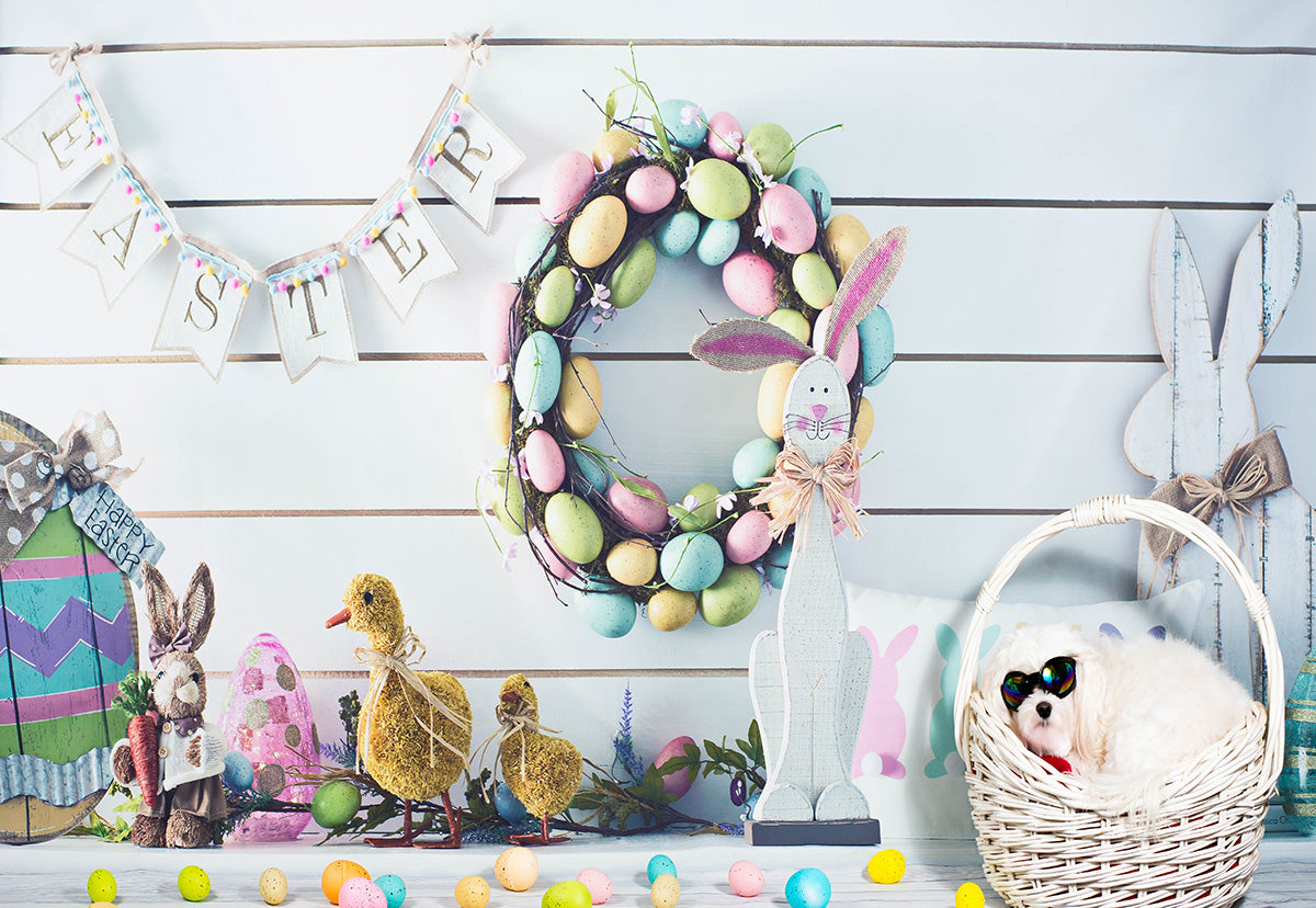 White Wood Colorful Eggs Happy Easter Backdrop for Photos