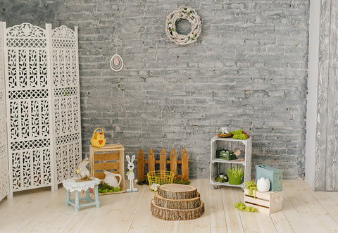 Vintage Brick Wall Wood Floor Easter Photography Backdrops