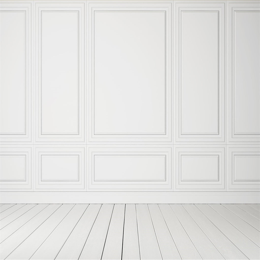 White Wall Wood Floor Wedding Photography Backdrop for Picture