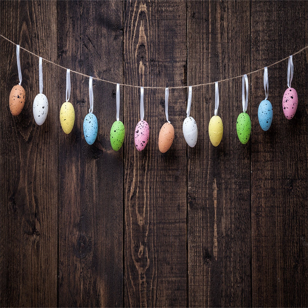 Brown Wood Wall Colorful Eggs Backdrop for Easter