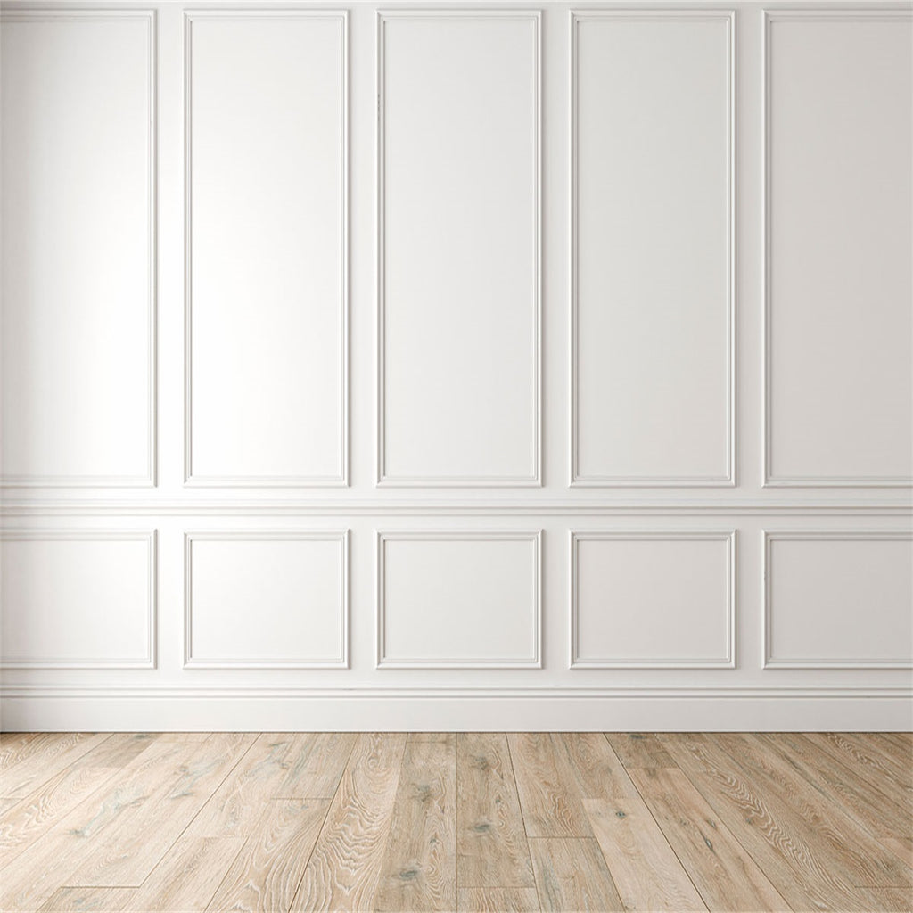 White Wall Wood Floor Backdrops for Wedding