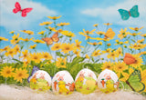 Happy Easter Spring Flowers Backdrops for Photography