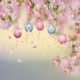 Pink Flowers Easter Eggs Photography Backdrops