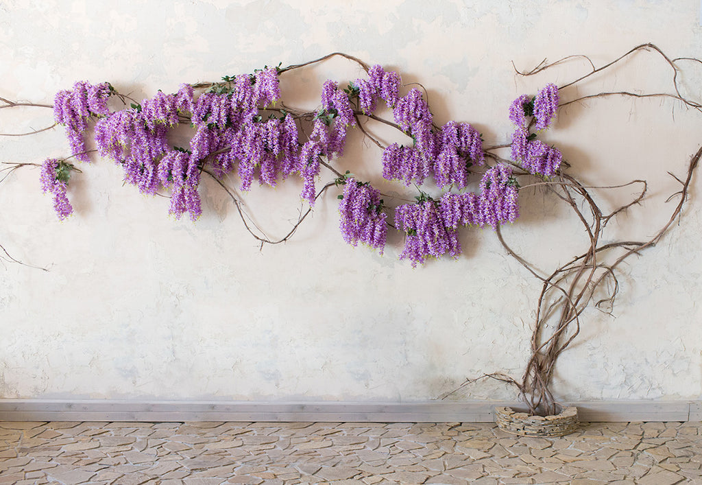 Lavender Flowers Branches Stone Floor Backdrops for Wedding