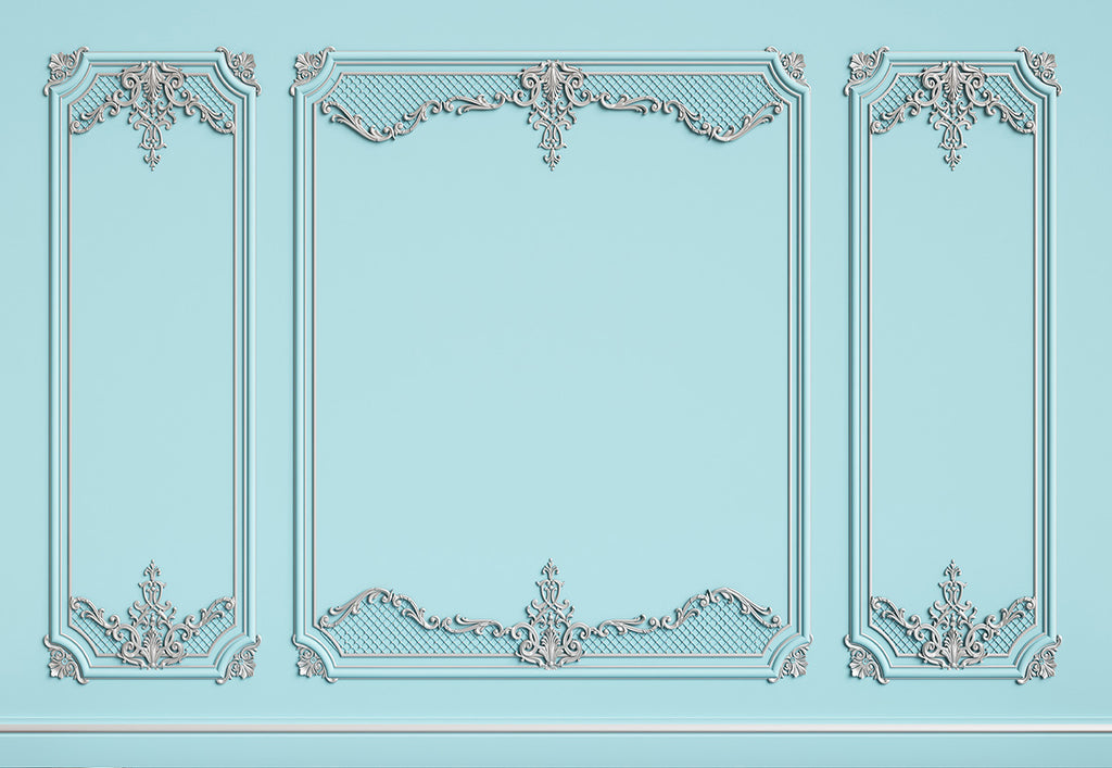 Light Blue Art Wall Backdrop for Wedding