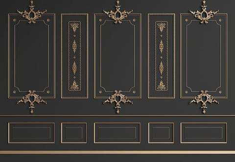 Black with Golden Edge Wall Studio Wedding Photo Booth Backdrops