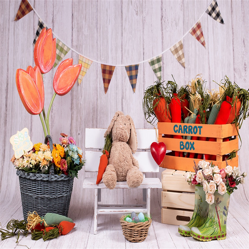 Carrot Box Flowers Spring for Easter Mini Session Backdrops