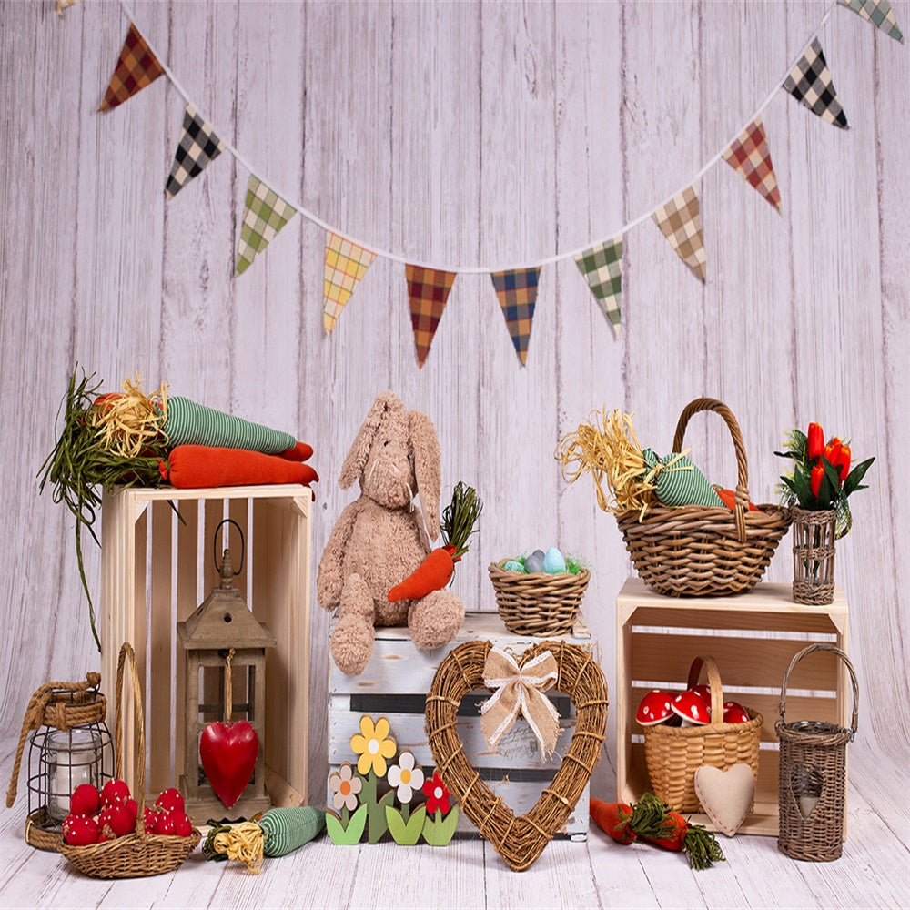Lattice Flag Wood Floor Happy Easter Photography Backdrop