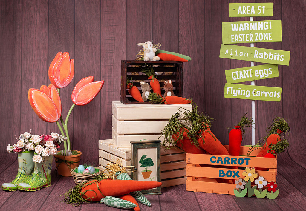 Dark Brown Wood Wall Carrot Box Easter Backdrops