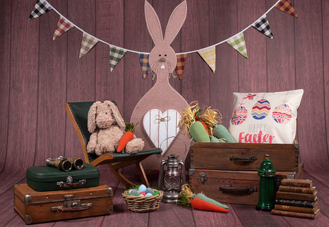 Big Rabbbit Happy Easter Eggs Photography Backdrops