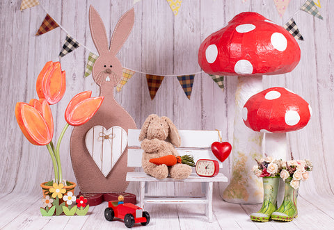 White Wood Wall Happy Easter Photography Backdrops