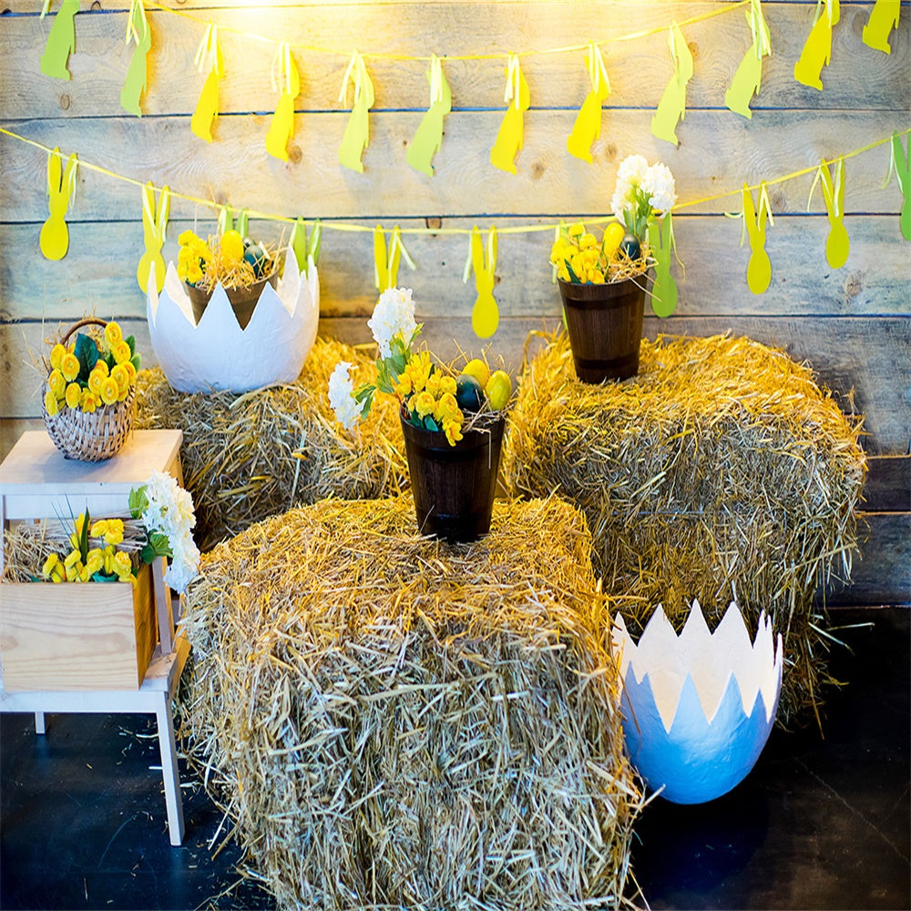 Spring Easter Yellow Eggs Rabbit Flag Straw Photography Backdrops