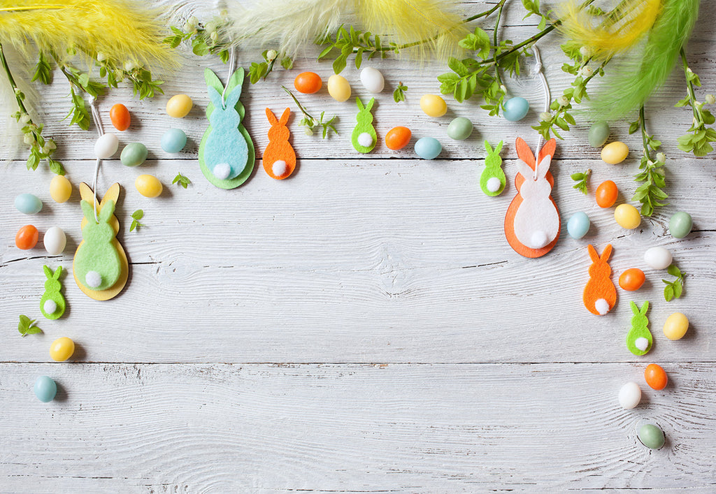 Colorful Eggs Easter Rabbit Feather Photography Backdrops