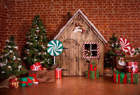 Christmas Interior Candy Wooden House Holiday Backdrops for Photo