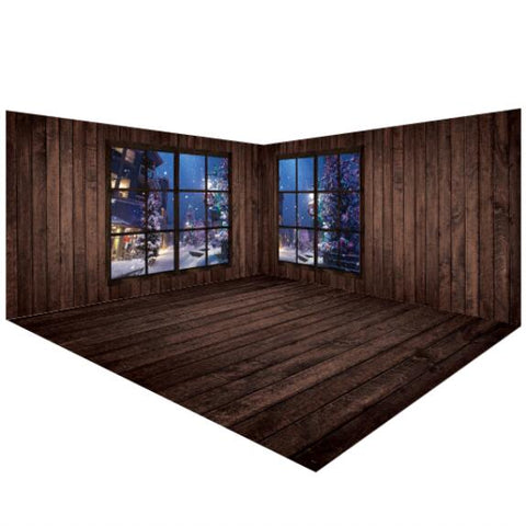 Dark Brown Wooden Winter Backdrops Room Set