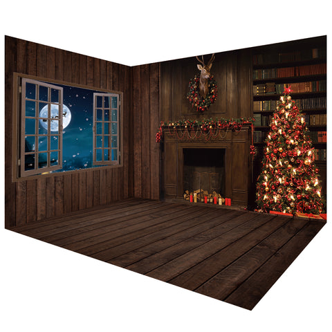 Dark Wooden Christmas Backdrops Room Set