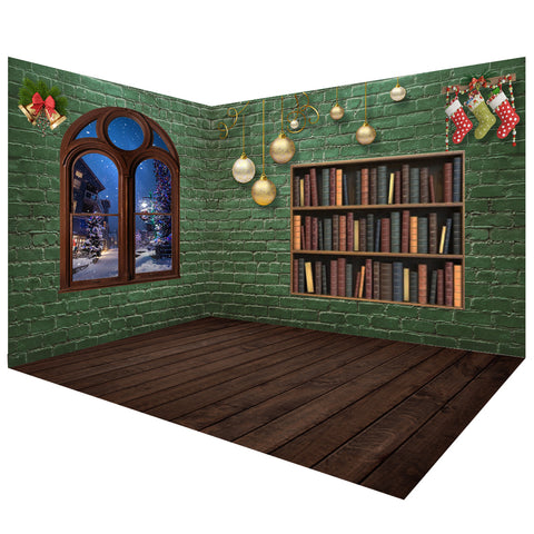 Christmas Green Brick Wall Photo Backdrop Room Set