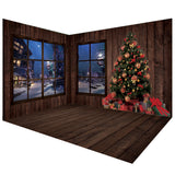Dark Brown Wooden Christmas Winter Backdrops Room Set