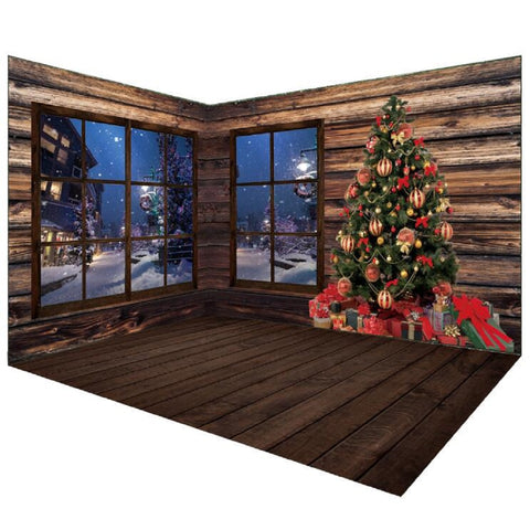 Vintage Wood Christmas Backdrops Room Set