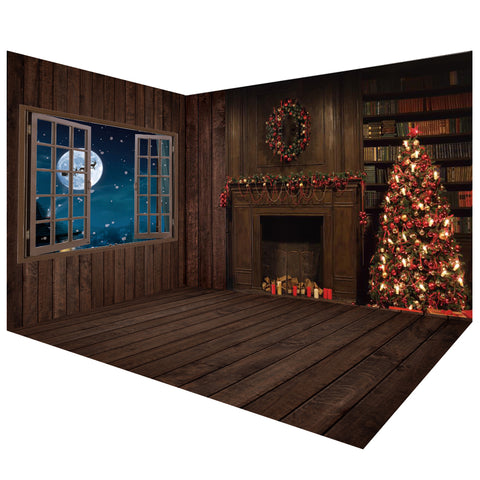 Dark Wooden Christmas Photography Backdrops Room Set