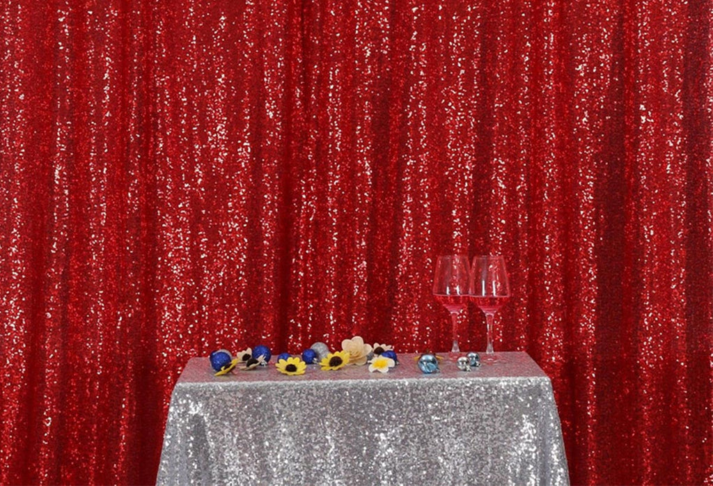 Red Sequins Fabric Photography Backdrop for Party