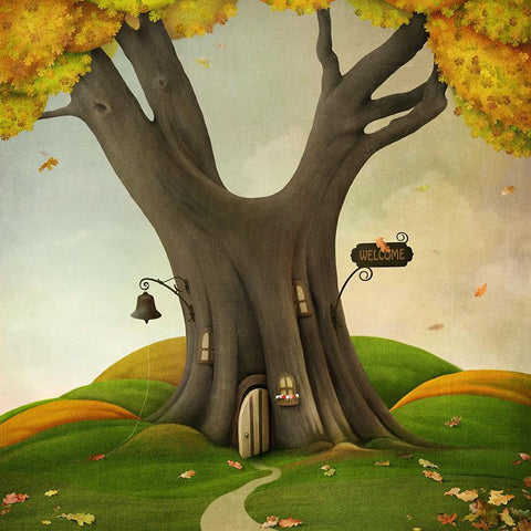 Cartoon Yellow Tree Leaves Background Autumn Scenery Photography Backdrop
