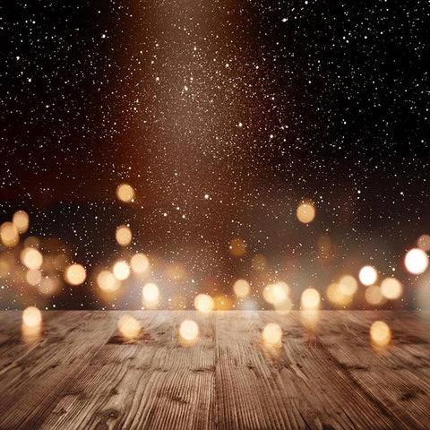 Bokeh Sparkle Light Backdrop Wood Floor Photography Background