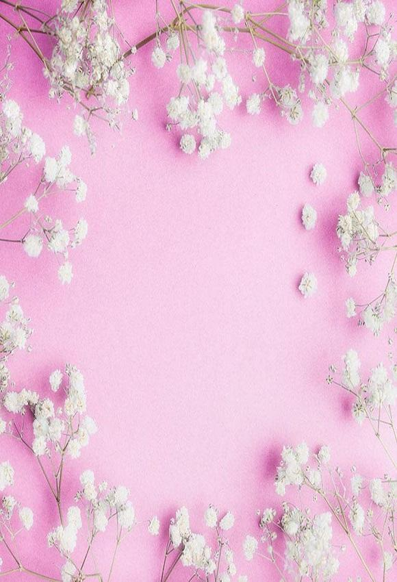 White Little Flowers Pink Background For Valentines Photography Backdrop