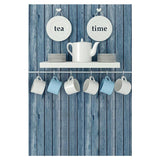 Blue Wood Wall With Cups Backdrop For Tea Time Photography