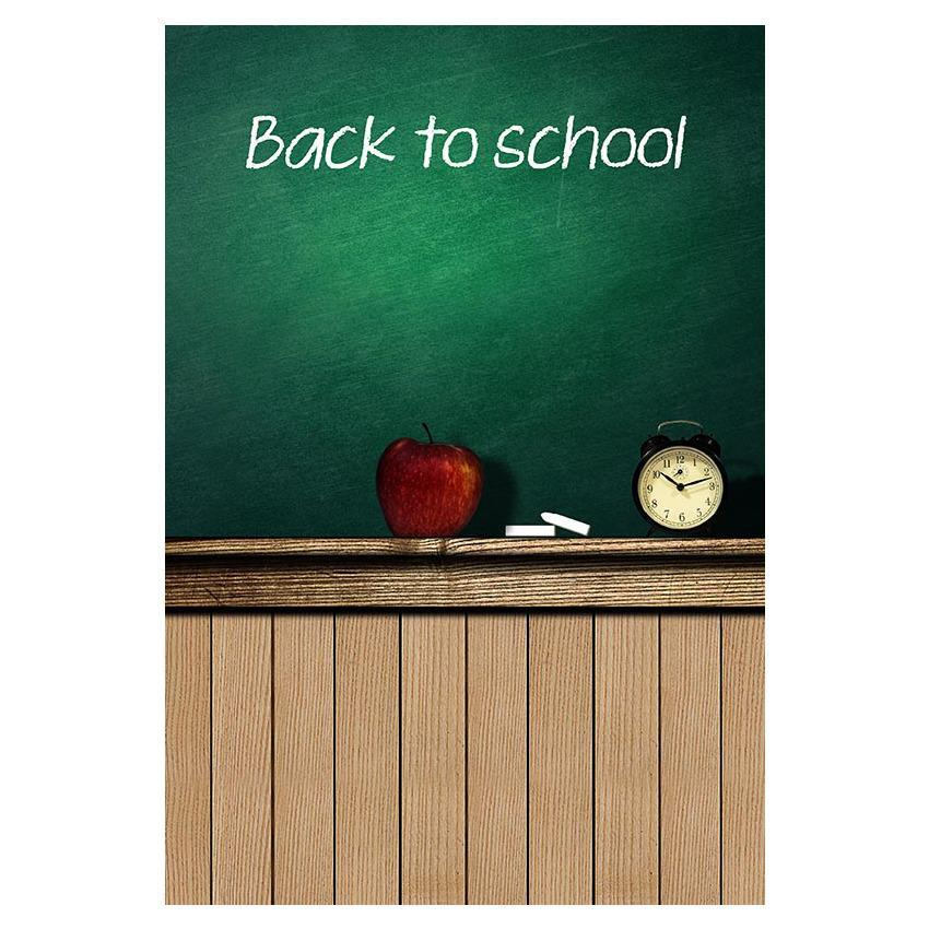 Printed Back To School On Chalkboard  and Wood Floor For Students Photography Backdrop