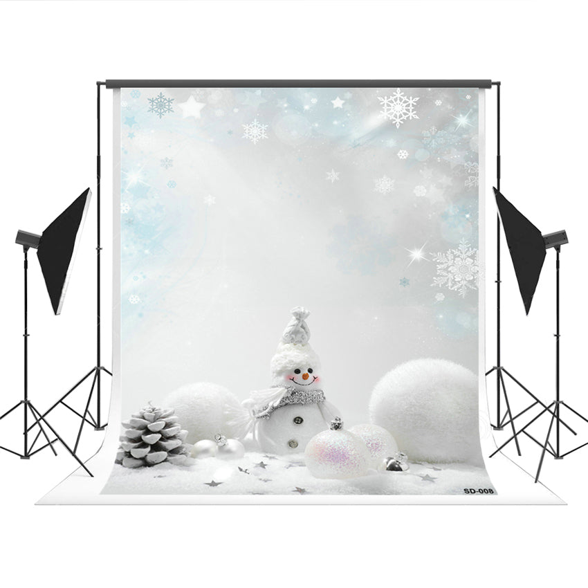 White Snowman Wonderland Photography Backdrop for Christmas