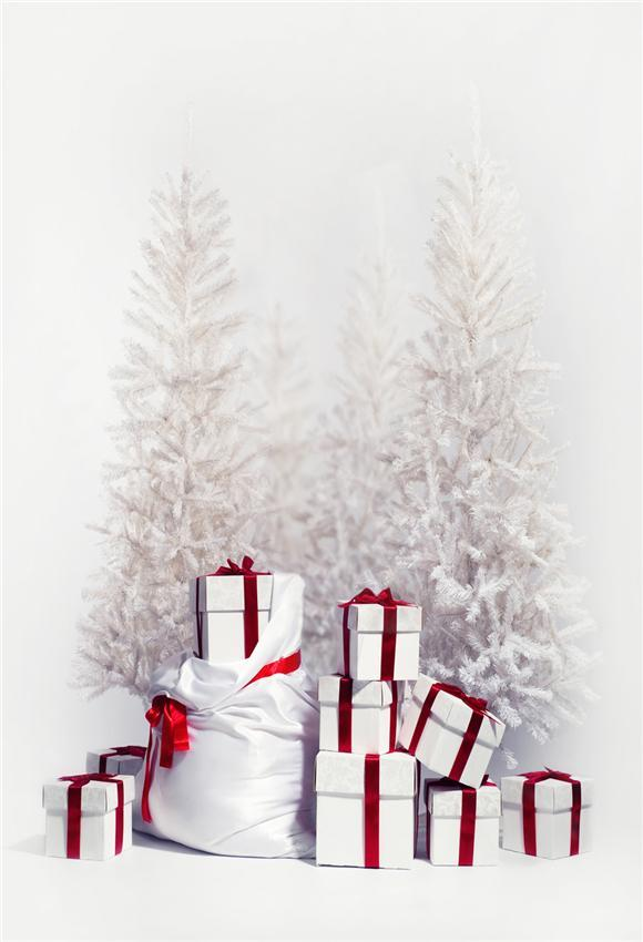 White Christmas Tree Gift Winter Backdrop for Picture