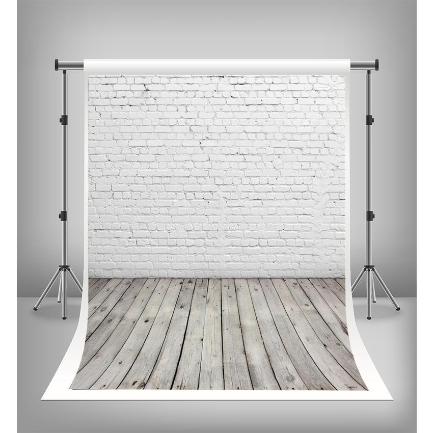 White Brick Wall Wood Floor Texture Retro Backdrop Photography Backdrop