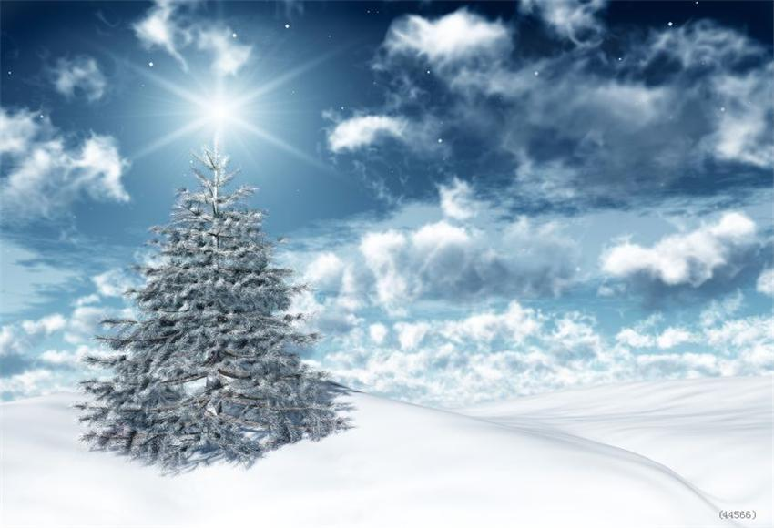 White Cloud Christmas Tree Winter Backdrop