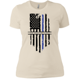 NGL Tattered Blue Line Flag Ladies' Boyfriend T-Shirt