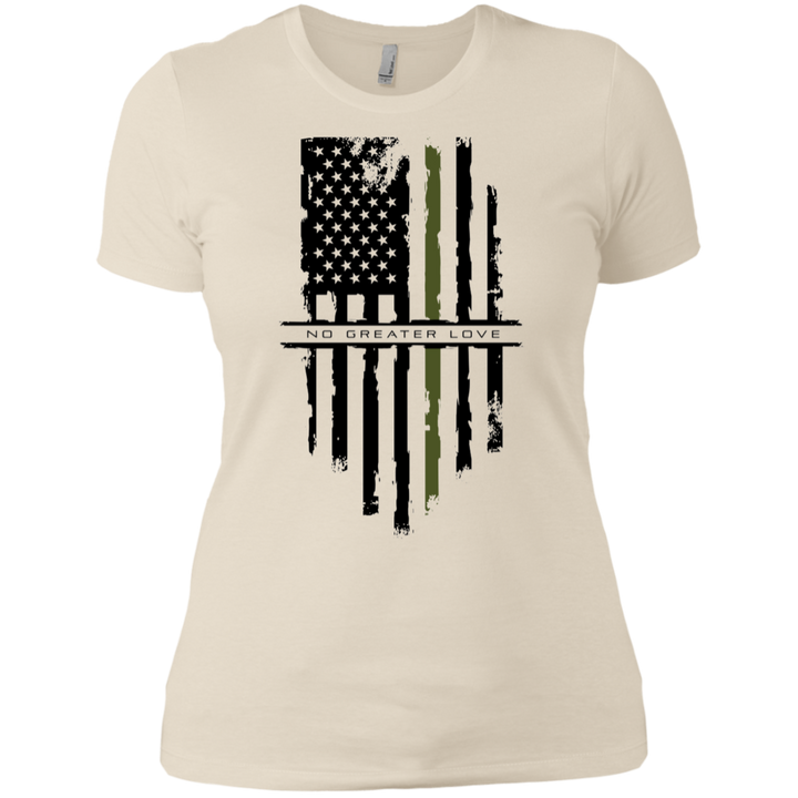 NGL Tattered Green Line Flag Ladies' Boyfriend T-Shirt