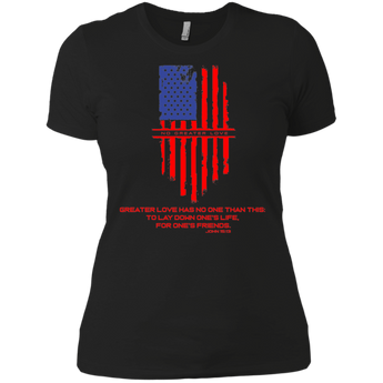 NGL Tattered American Flag with Verse Ladies' Boyfriend T-Shirt