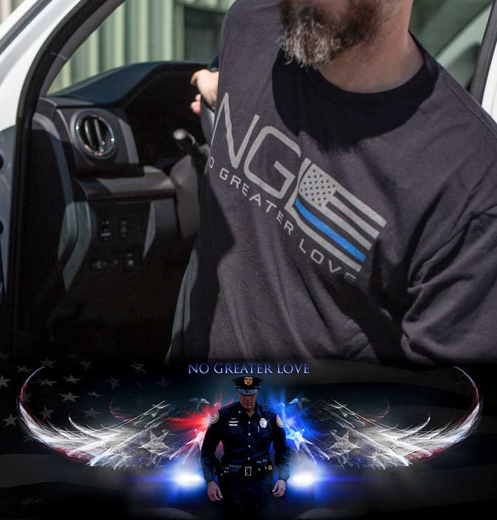 NGL Thin Blue Line T-Shirt & Police Print Bundle