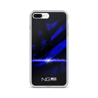 Flag & Blue Line Greater Love Hath No Man Than This iPhone Case