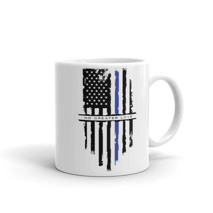 No Greater Love Blue Line Flag Mug