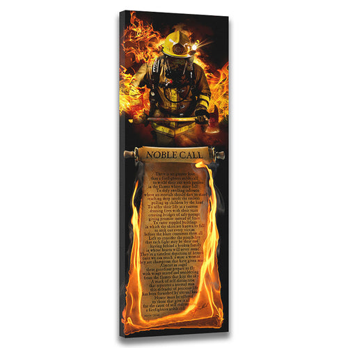Firefighter's Noble Call (Poem) - Wrapped Canvas