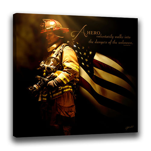 Heroes of a Nation (Firefighter) - Wrapped Canvas
