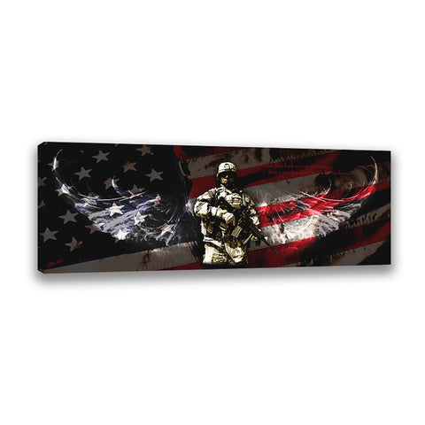 Red Line Flag - Wrapped Canvas